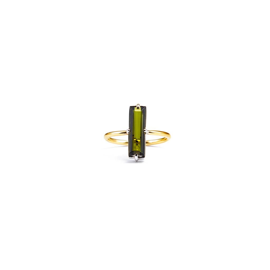 green kornerupine gold ring, serafin jewellery