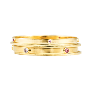 5 STONE 18CT GOLD BANGLE