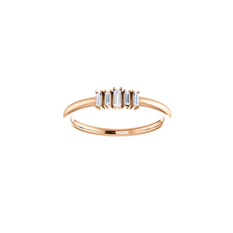 Sia 5 Diamond Baguette Ring