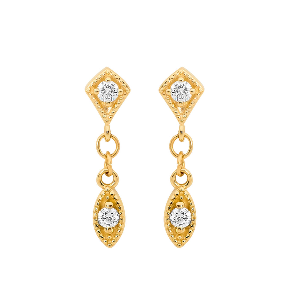 Double Diamond Marquise Drop Earrings
