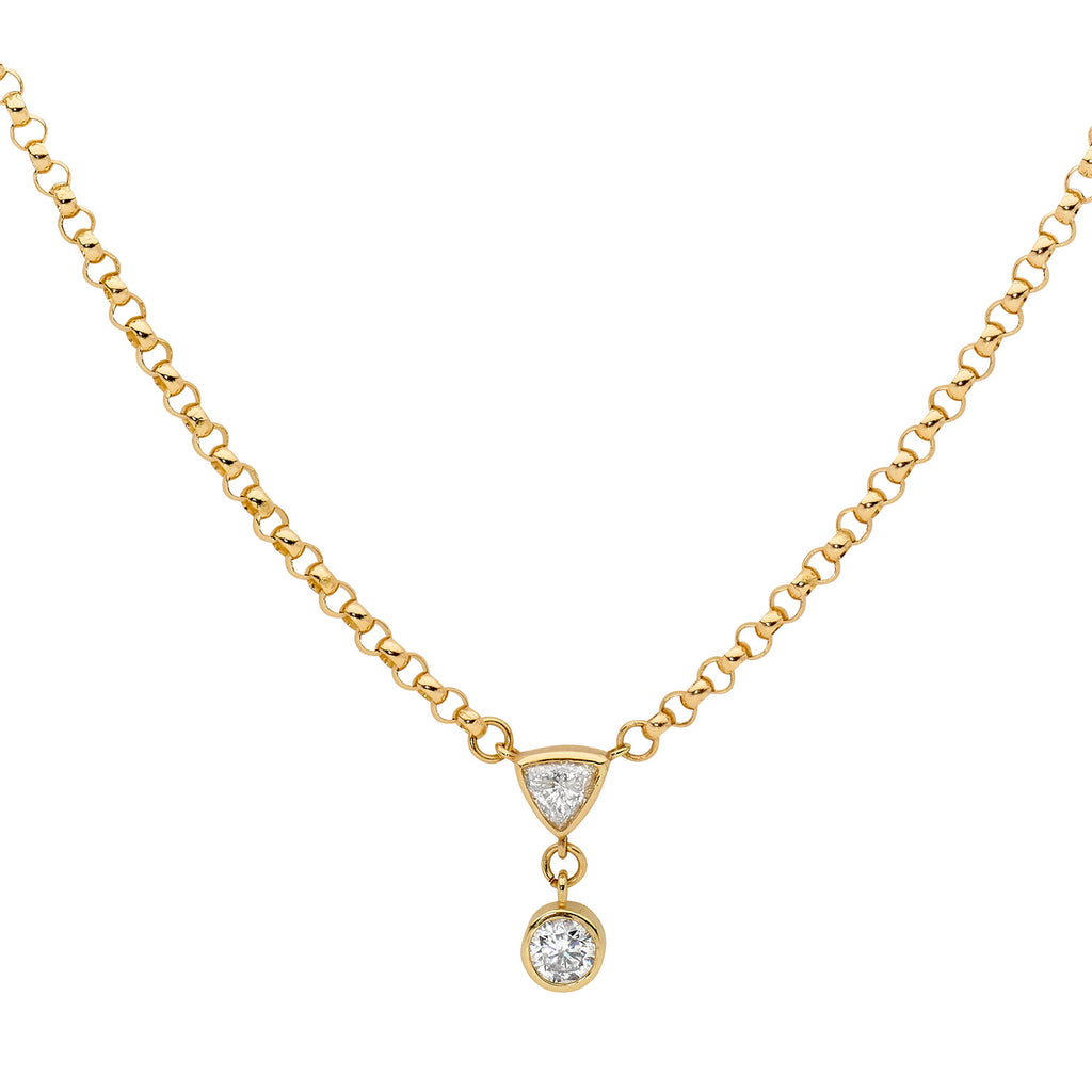 Trillion Diamond & 18Ct Gold Necklace