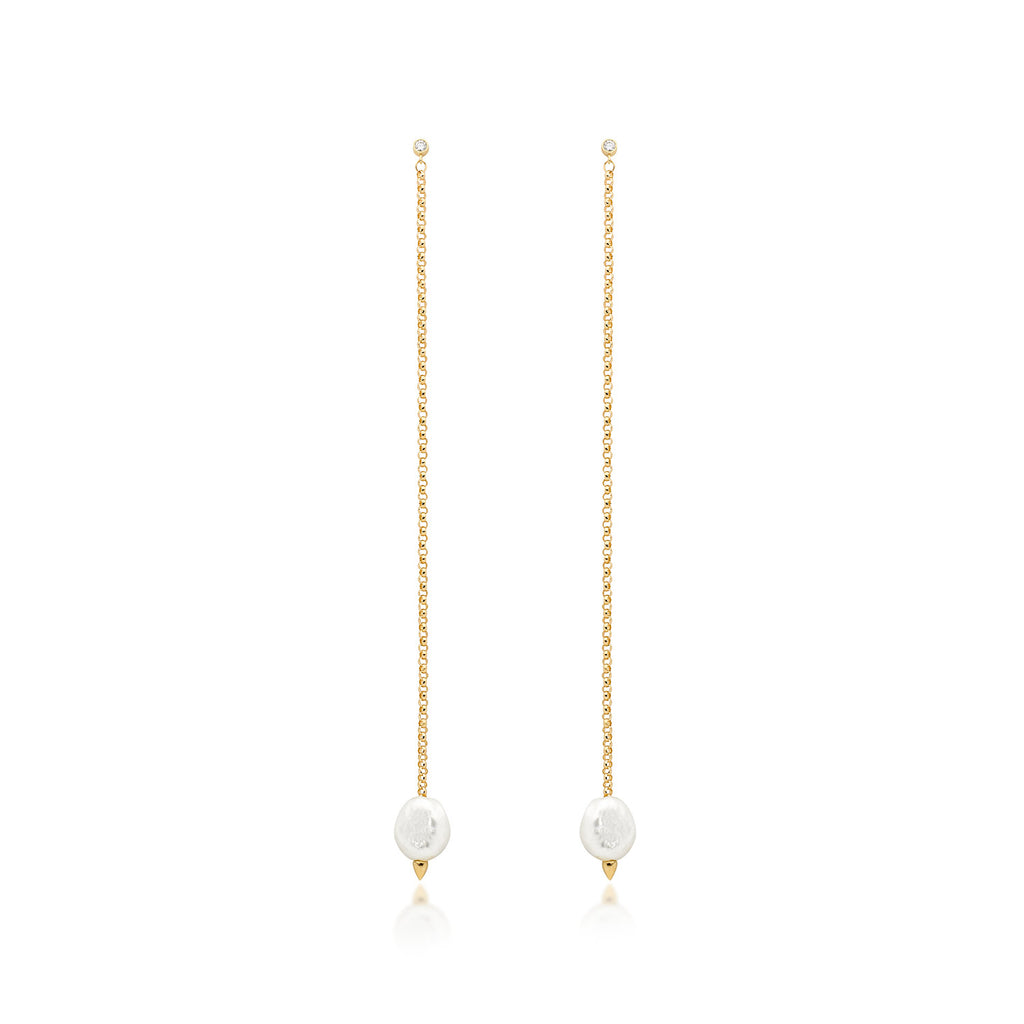 White Pearl & Diamond Drop Earrings Long