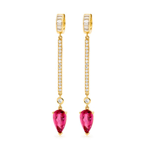 ARROW DIAMOND AND PINK TOURMALINE DROP EARRINGS