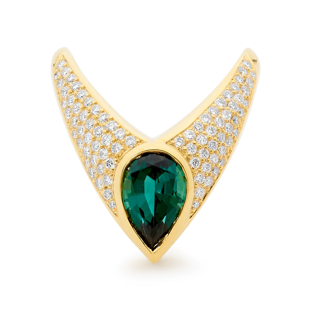green tourmaline and diamond ring, serafin jewellery, jewellery designer