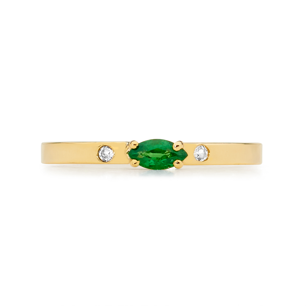 marquise emerald ring, small ring, stacking ring, rings, gold jewellery, gold jewelry