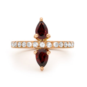 DOUBLE GARNET 14CT ROSE GOLD RING