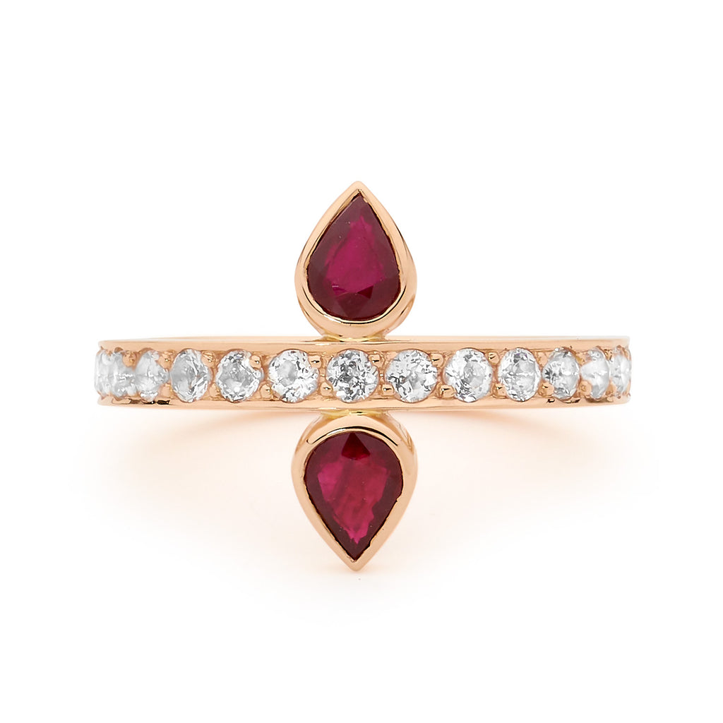double ruby and diamond rose gold ring, serafin jewellery