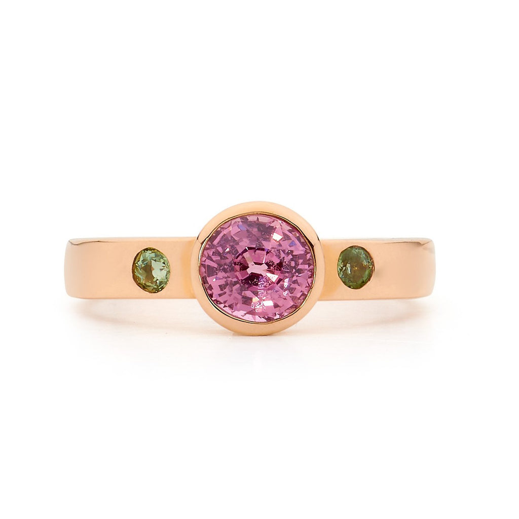 pink sapphire and peridot rose gold ring, delicate ring