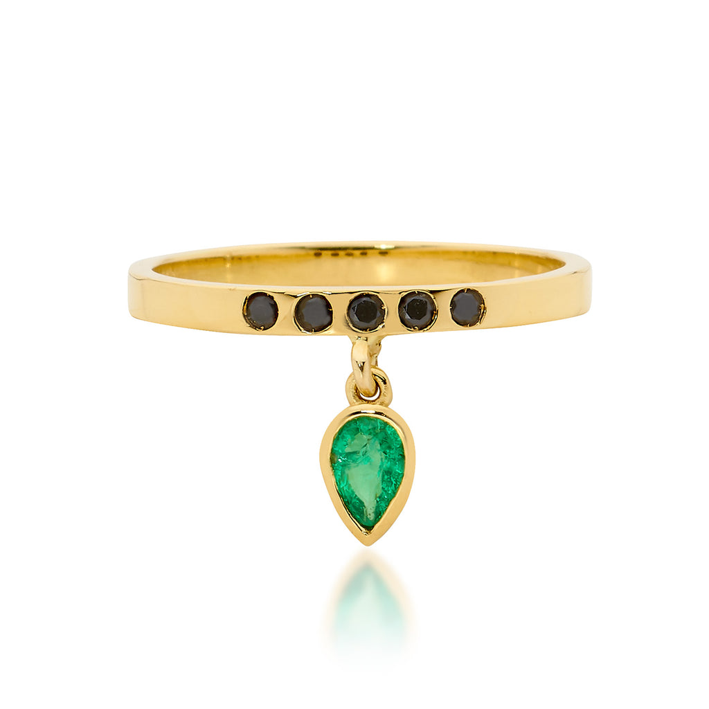 green emerald drop ring, engagement ring, serafin jewellery
