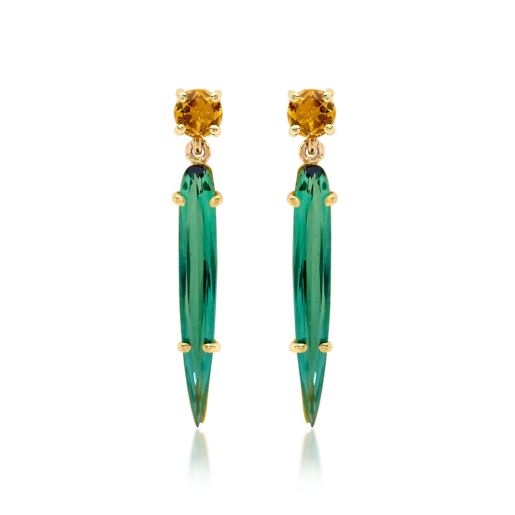 GREEN TOURMALINE AND CITRINE EARRINGS