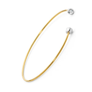 18ctgold cuff bracelet with 4mm white sapphires set in sterling silver, gold jewellery, gold jewelry