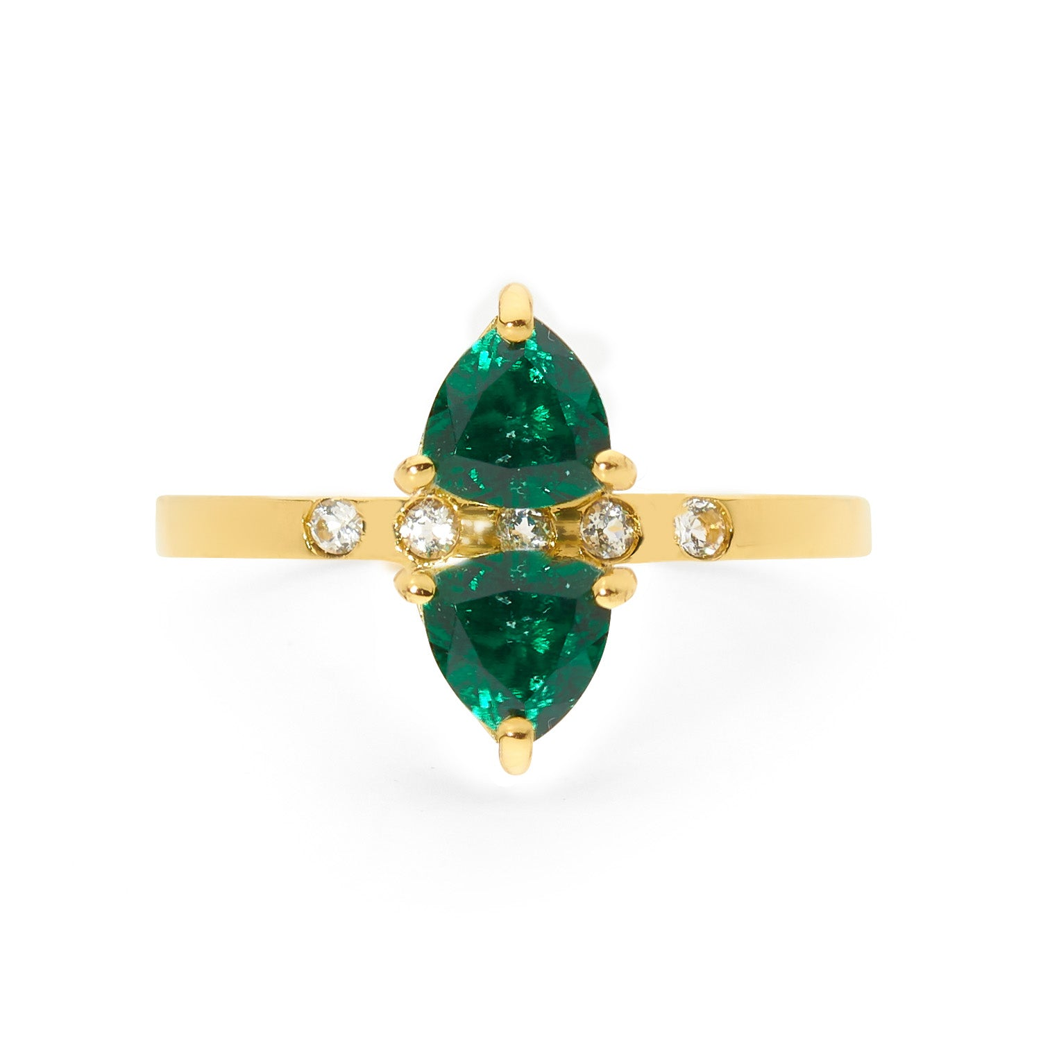 double emerald and white sapphire ring, small ring, stacking ring, rings, gold jewellery, gold jewelry