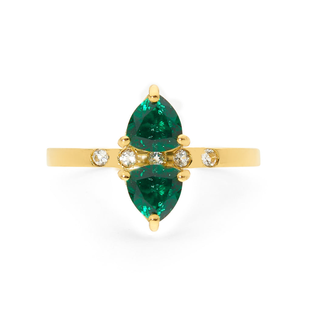 double emerald gold ring with diamonds