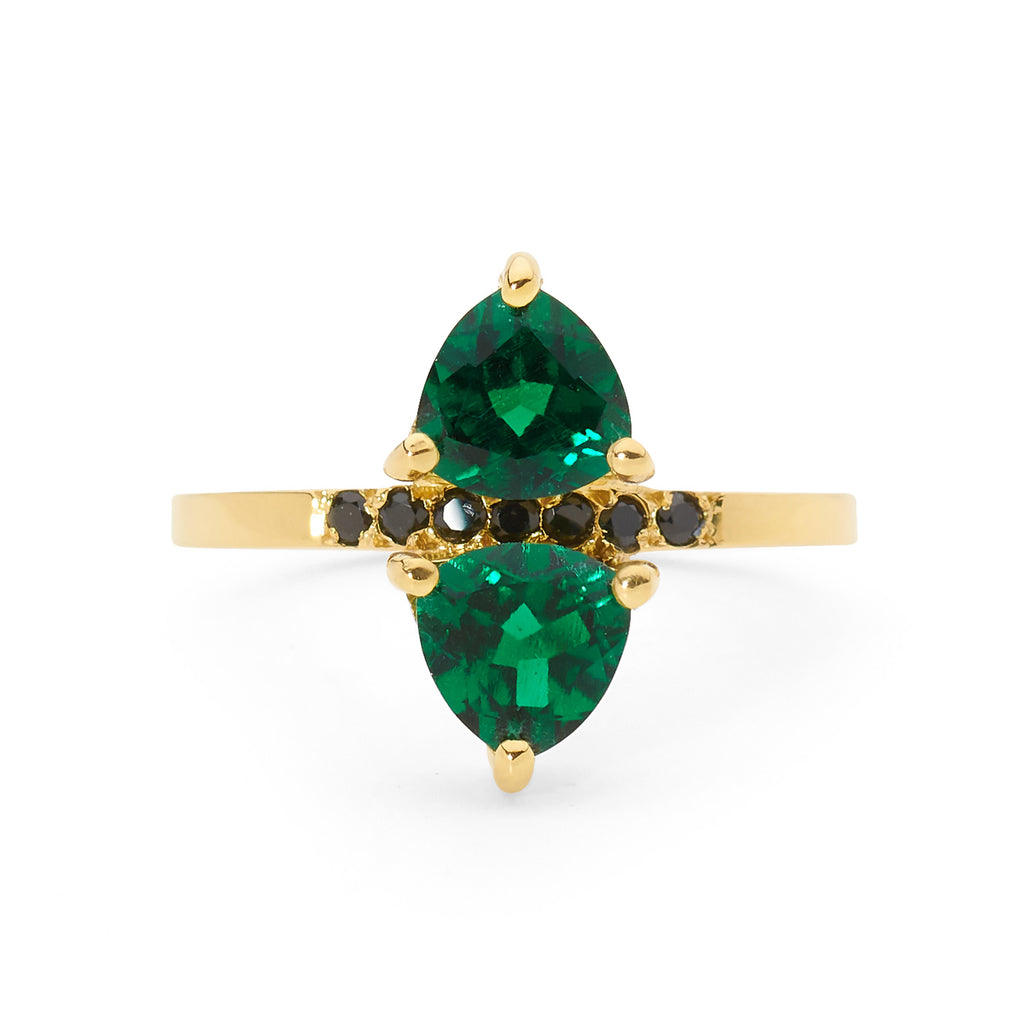 double emerald and spinel ring, small ring, stacking ring, rings, gold jewellery, gold jewelry
