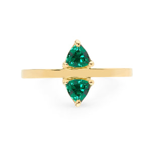 delicate double triangle emerald ring, small ring, stacking ring, rings, gold jewellery, gold jewelry, jewellery store, online jewelry store, jewellers