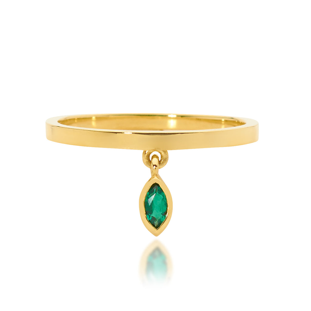 marquise emerald ring, gold ring, delicate ring