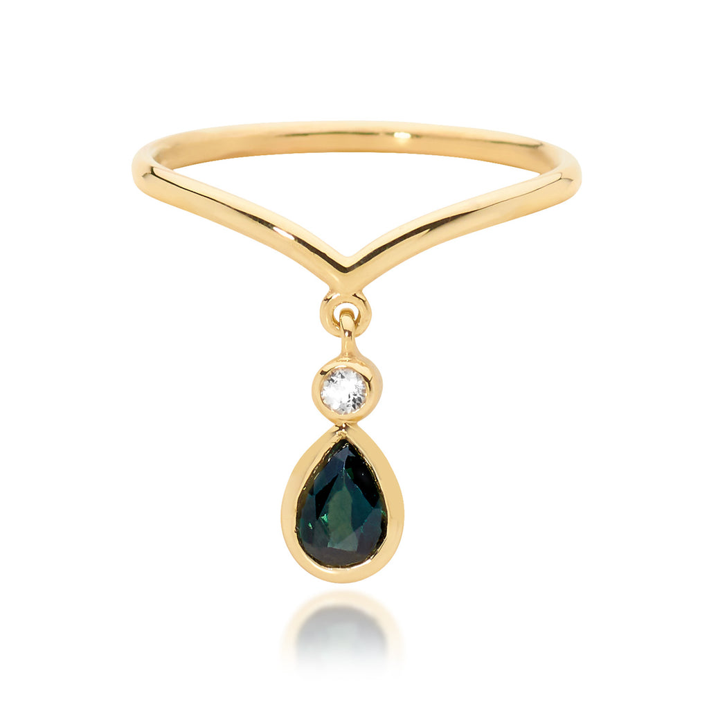 sapphire drop ring, gold ring, serafin jewellery
