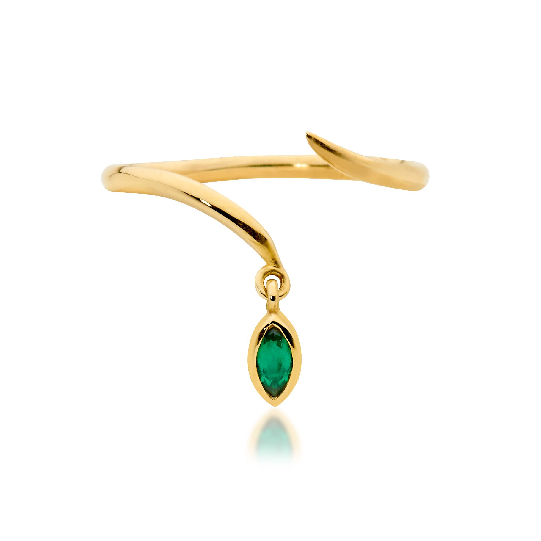 tiny emerald drop ring, delicate ring, serafin jewellery