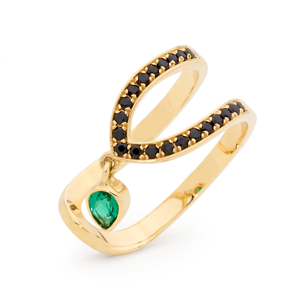 black spinel and emerald ring, serafin jewellery, bespoke jewellery