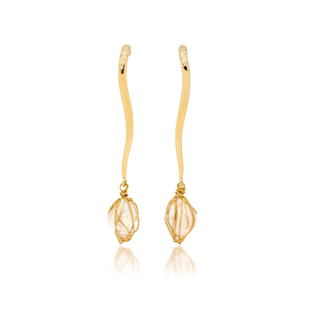 raw diamond earrings, serafin jewellery