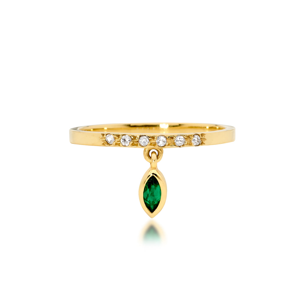 emerald and diamond ring, engagement ring, serafin jewellery