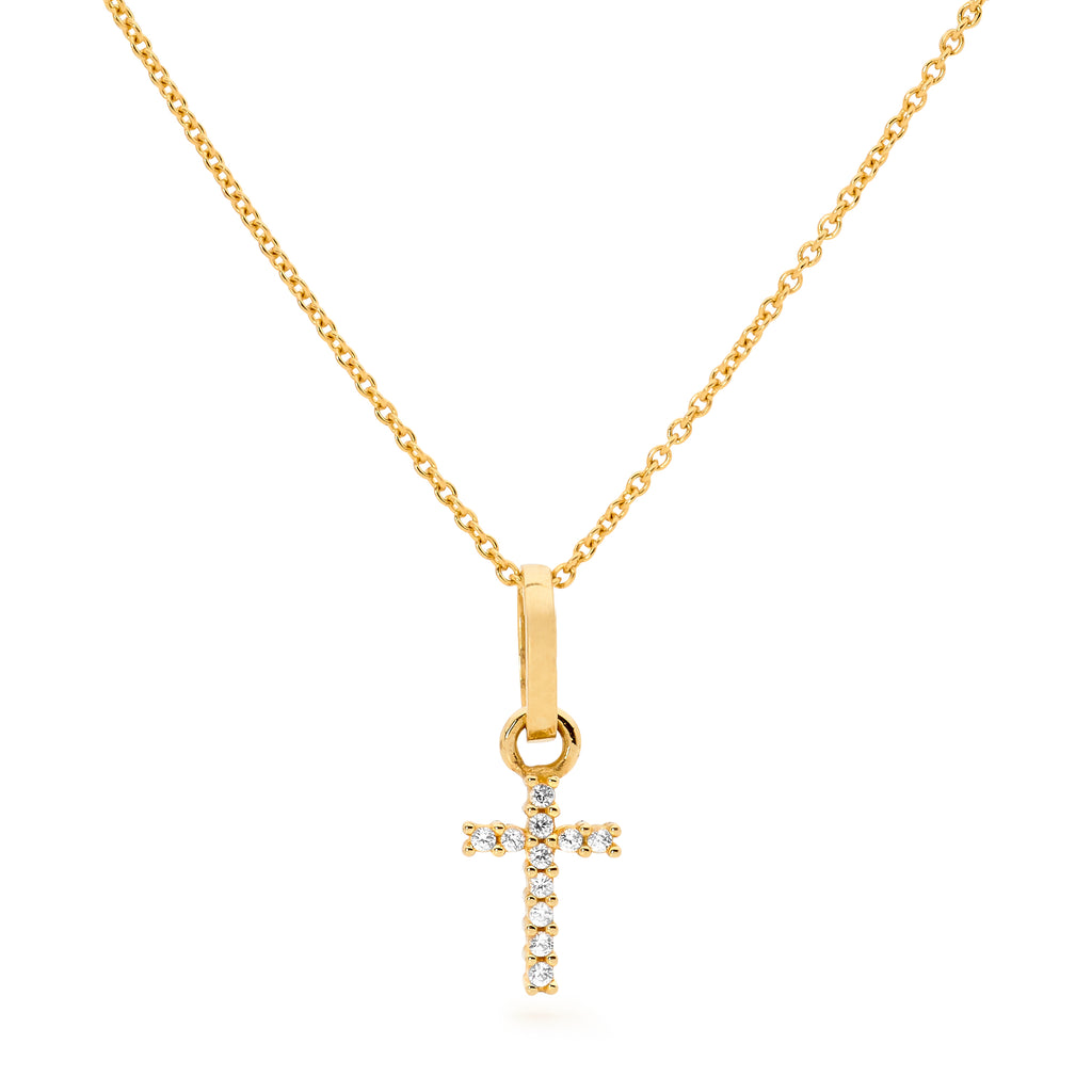 White Sapphires Cross Necklace Gold
