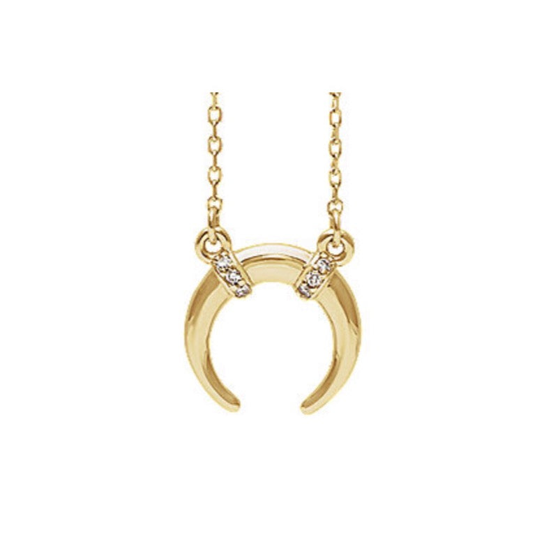 Gold & Diamond Crescent Moon Necklace