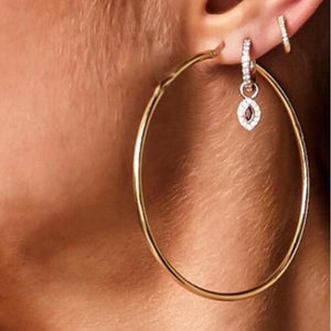 18CT ROSE GOLD DIAMOND HUGGIE EARRING
