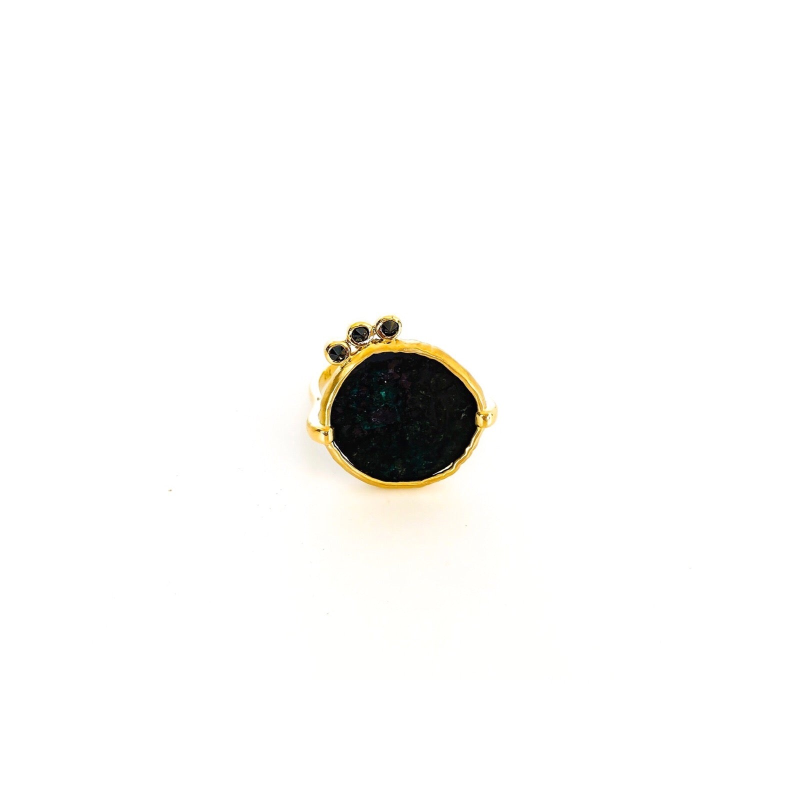 coin ring, black coin ring, spanish coin, diamond ring, stacking ring, rings, gold jewellery, gold jewelry