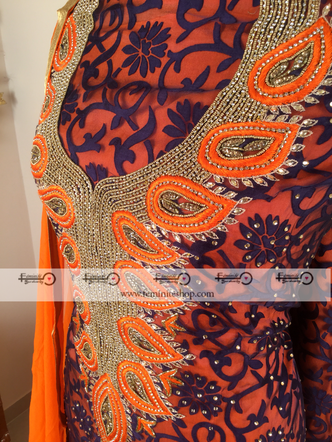 Brasso Designer Kundan Work Suit - Orange