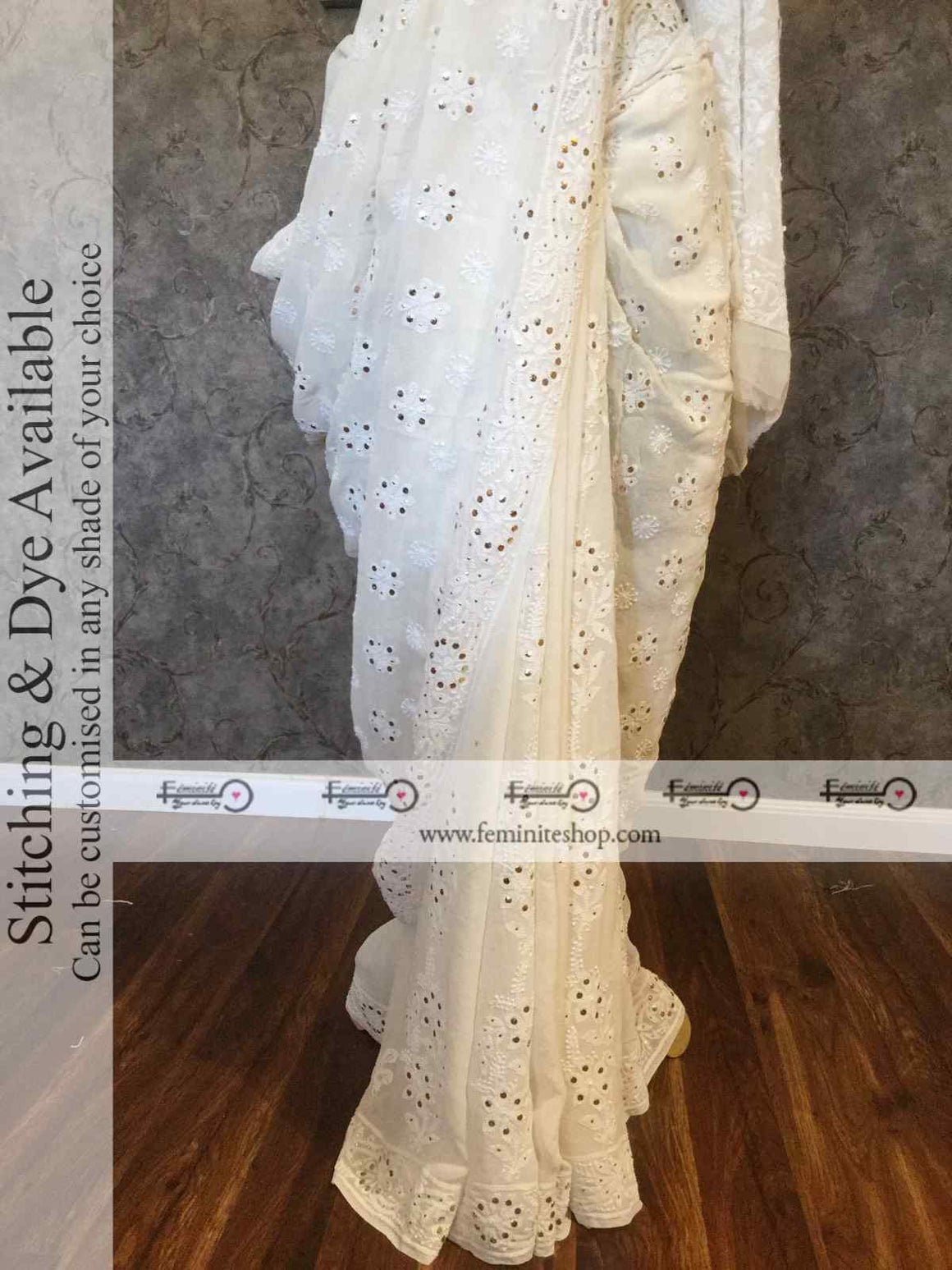 Ivory Chikankari Mukaish Border Pallu Saree- Dyeable