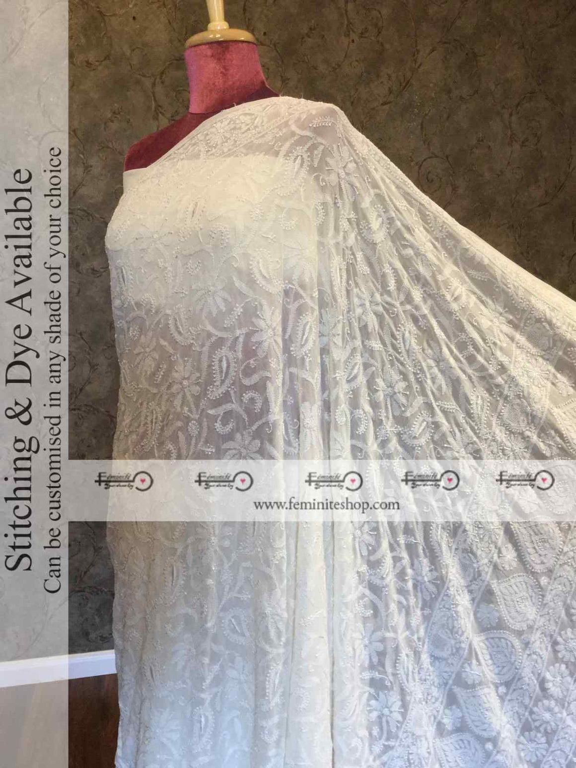 Ivory Chikankari Full Jaal Resham Thread Handembroidered Saree- Dyeable