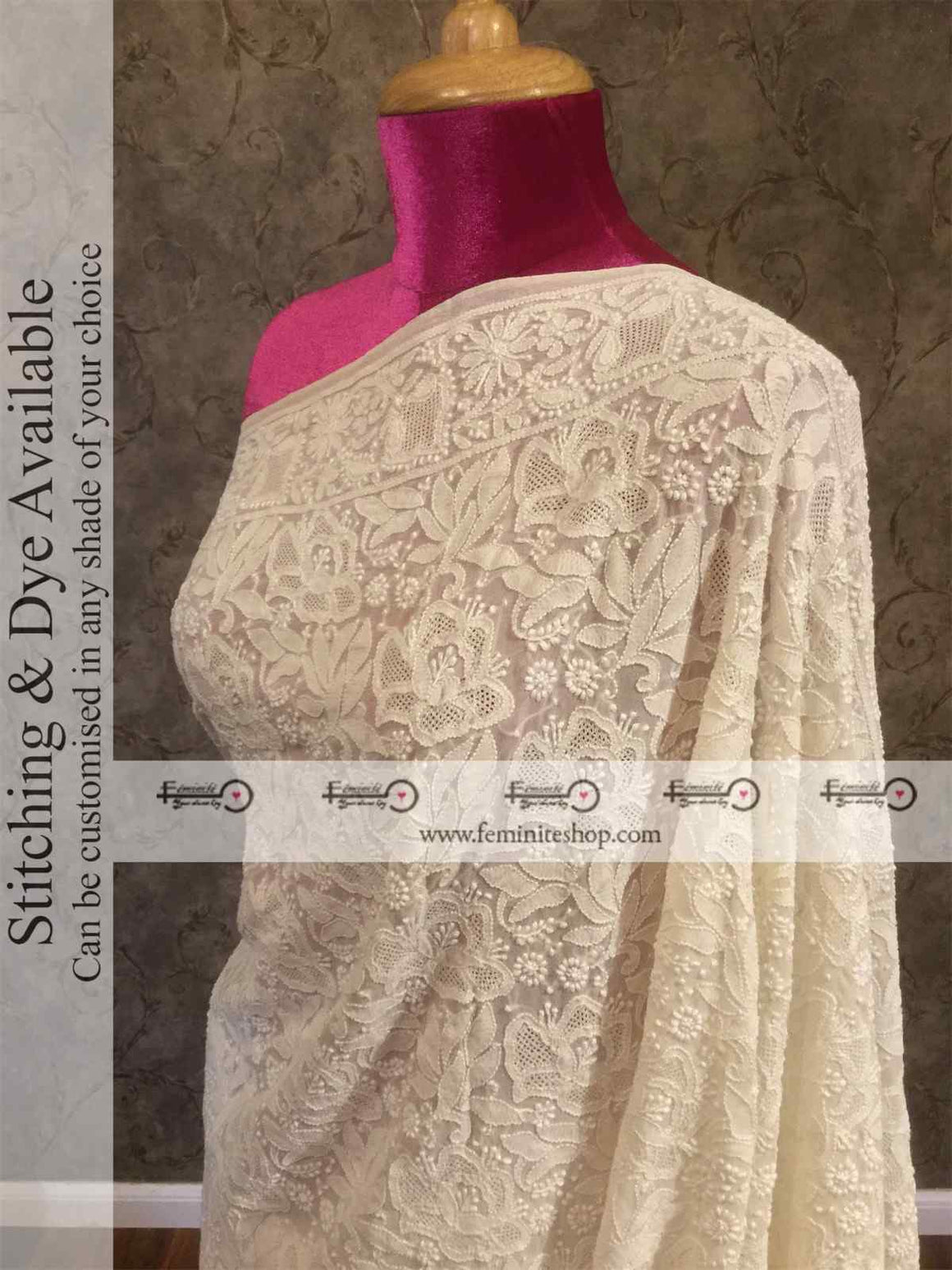 Ivory Chikankari Full Jaal Handembroidered Saree with Jaali Pattern- Dyeable