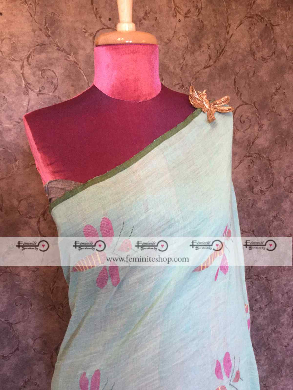 Designer Linen Saree with Dragonfly motifs- Sea Green