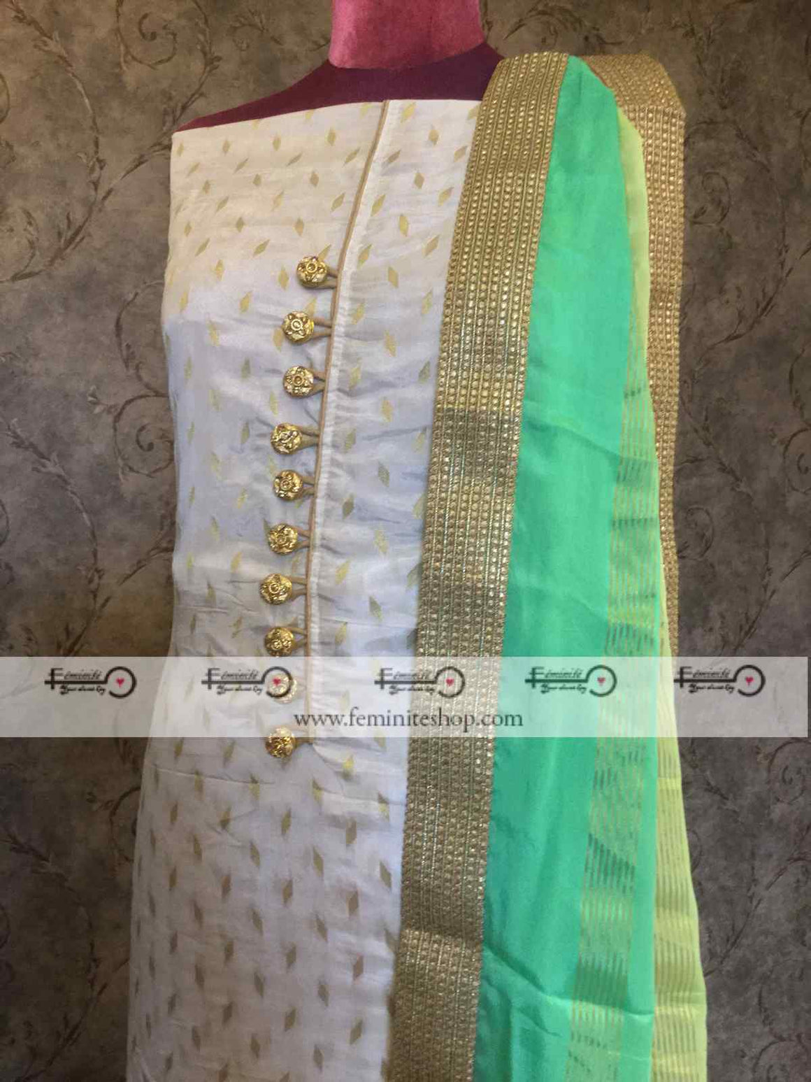 Chanderi Silk White Suit with Multishade Chinon Dupatta
