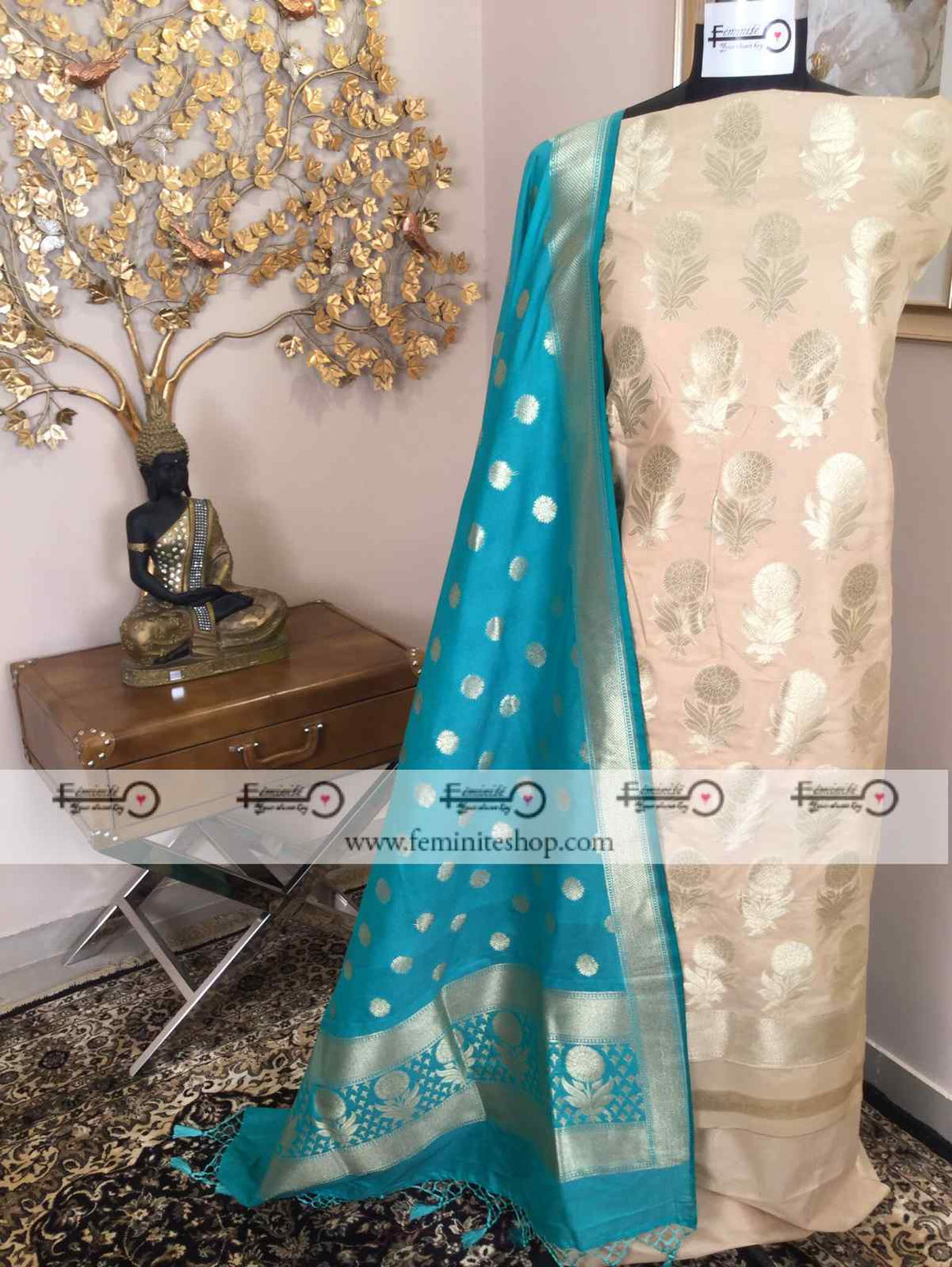 Banarasi Silk Suit Fabric (with Dupatta) - White with Sea Green Dupatta