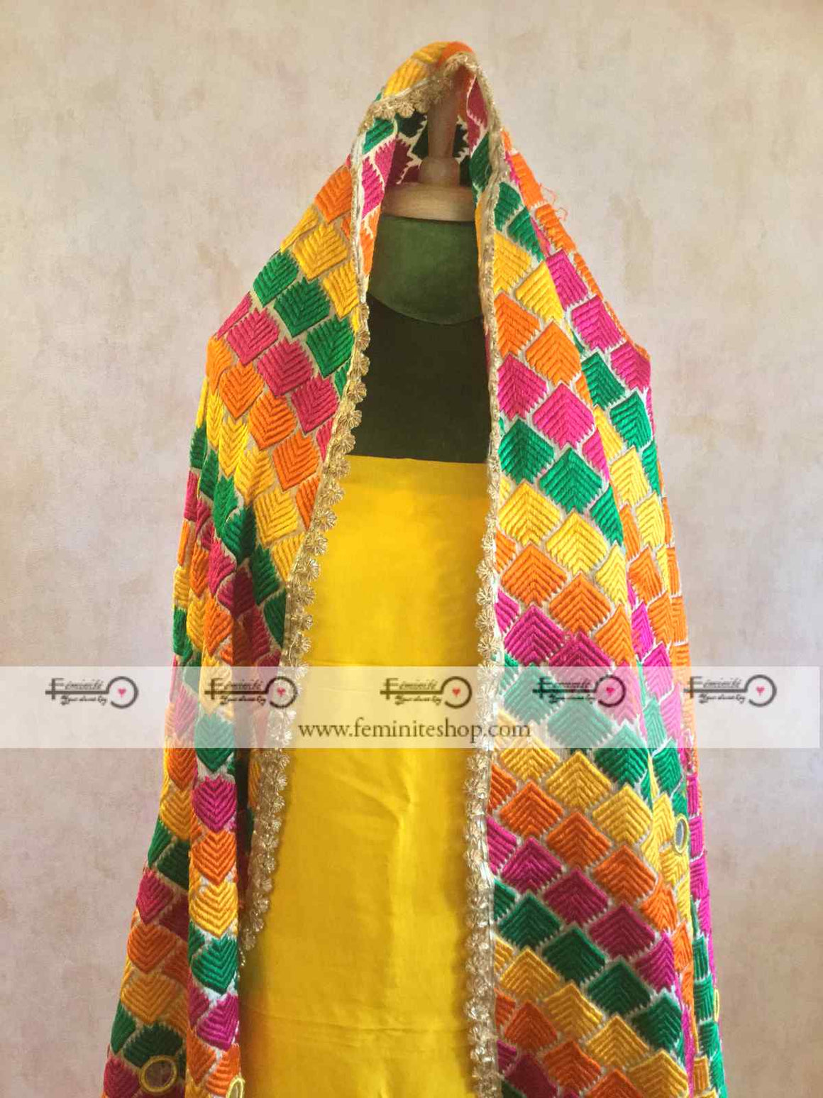 Dupion Silk Designer Suit with Phulkari Work- Yellow