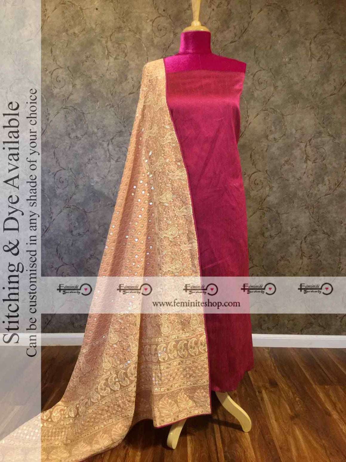 Designer Raisin brown chikankari dupatta with gotapatti work suit