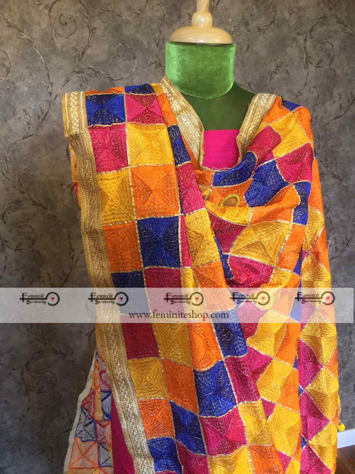 Dupion Silk Designer Suit with Phulkari Work- Pink