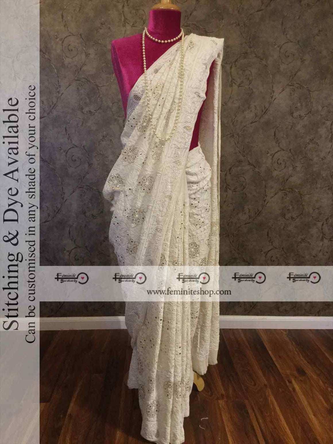 Ivory Chikankari Mukaish Full Jaal Saree- Dyeable