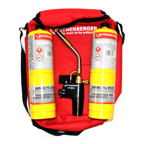 Rothenberger Hot Bag Deal - Superfire2 Torch, 2x Mapp Gas & Carry Bag by Rothenberger from Heat Group Supplies