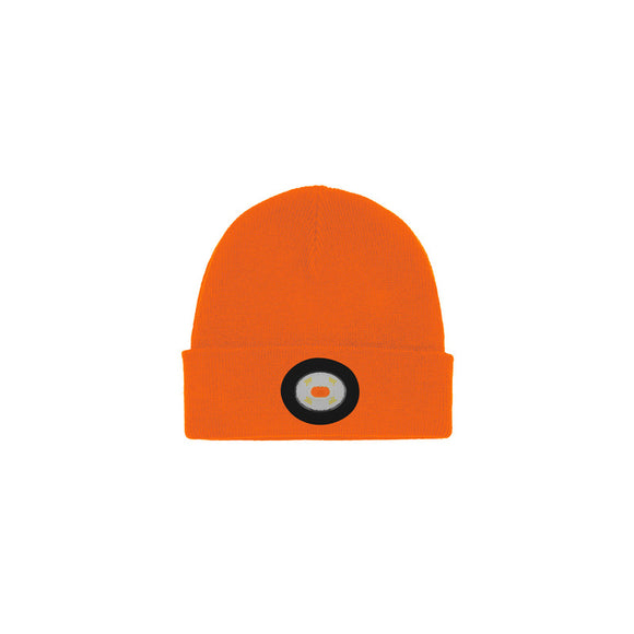 Unilite Orange Beanie Hat With LED USB Rechargeable Light