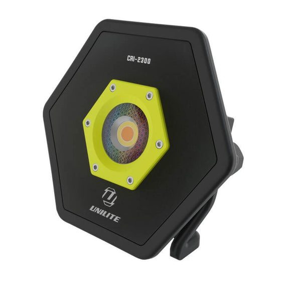"Unilite 2300 Lumen CRI ""Colour-Render-Index"" Industrial Hexagon Aluminium Site Light With 5 Light Colours"