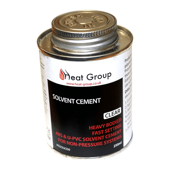 Heat Group Solvent Cement - 250ml C/W Brush Fast Setting - Clear -Suitable For ABS & UPVC by Heat Group from Heat Group Supplies