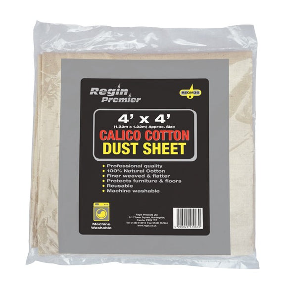 Regin Cotton Dustsheet 4'X4' by Regin from Heat Group Supplies