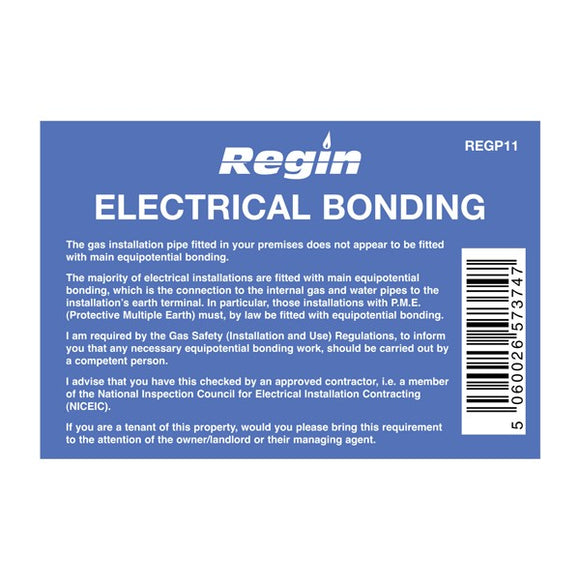 Regin Electrical Cross Bonding Sticker - Pack Of 8