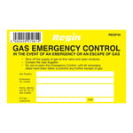 Regin Gas Emergency Control Sticker - Pack Of 8 by Regin from Heat Group Supplies