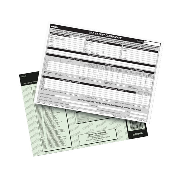 Regin Gas Safety/Landlords Certificate Pad by Regin from Heat Group Supplies