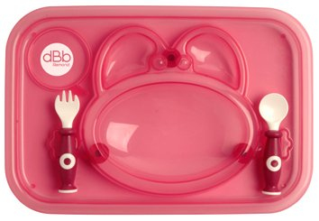 dBb Remond 217508 Infant Plate and Translucent Pink Spoon and Fork