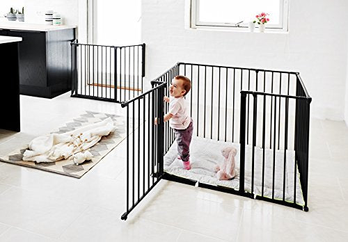 BabyDan Square Playpen with Play Mat (Black)